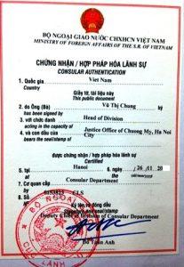 Hợp pháp hóa lãnh sự tại cơ quan đại diện ngoại giao của Việt Nam ở nước ngoài