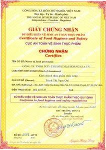 Cấp giấy chứng nhận đủ điều kiện vệ sinh an toàn thực phẩm