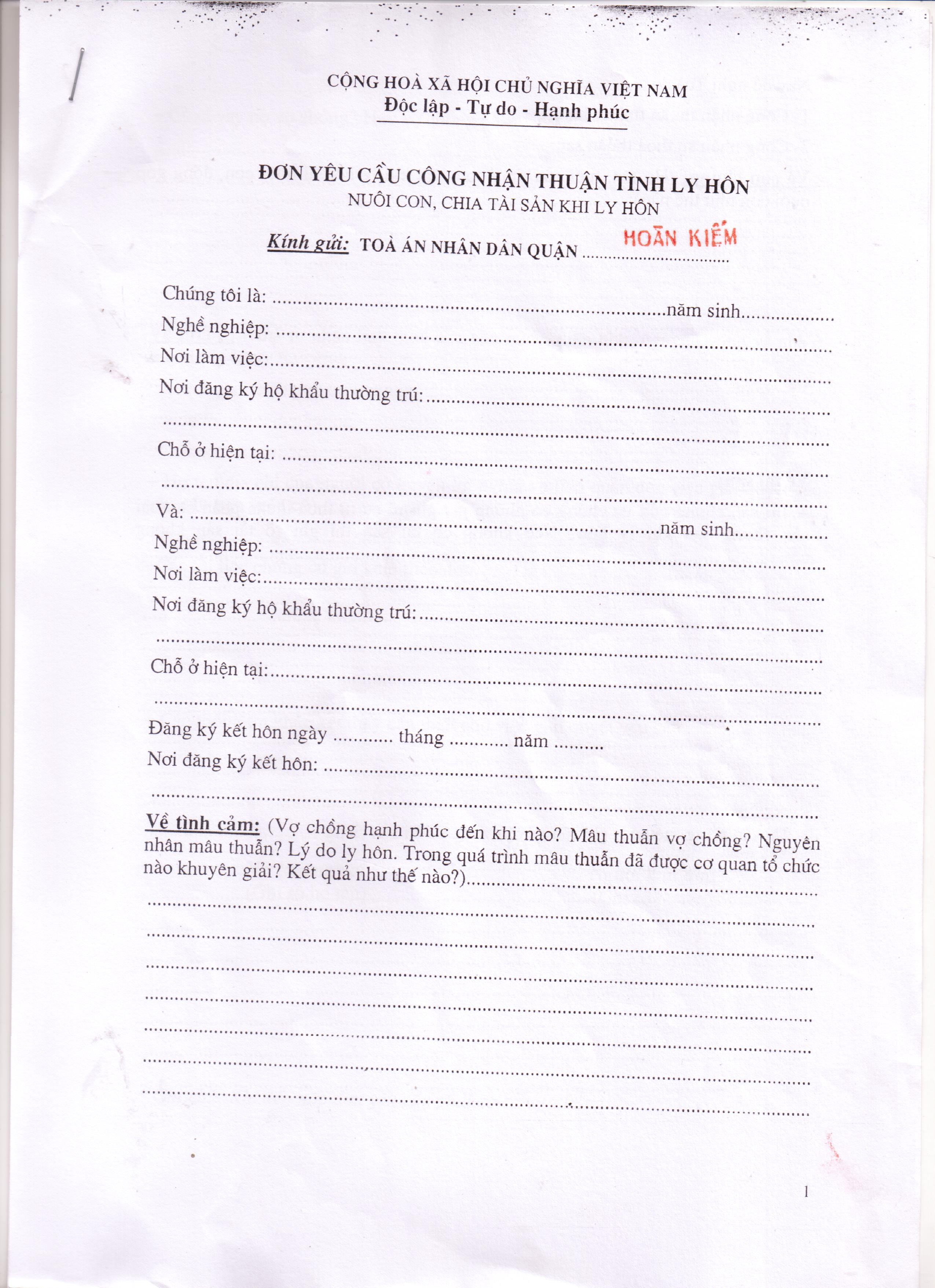mẫu đơn thuận tình ly hôn