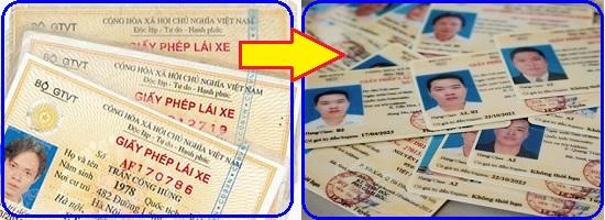 đổi giấy phép lái xe qua thẻ PET