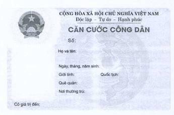 Mặt trước mẫu thẻ căn cước công dân