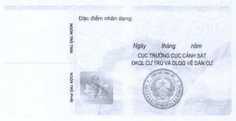 Mặt sau mẫu thẻ căn cước công dân