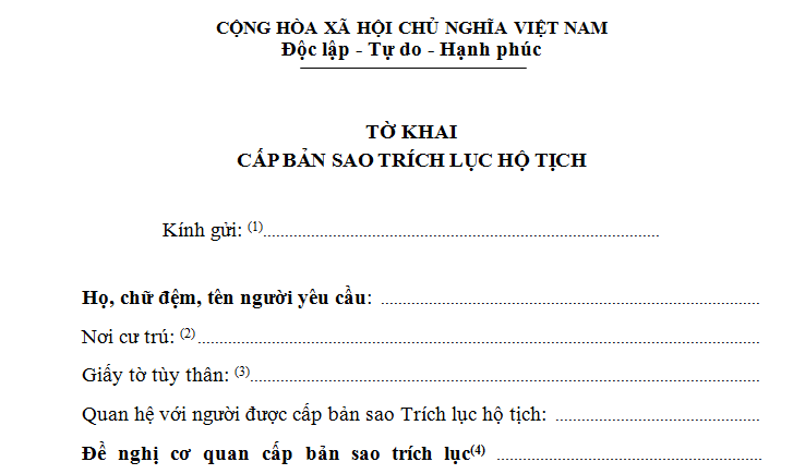 tờ khai cấp bản sao trích lục hộ tịch