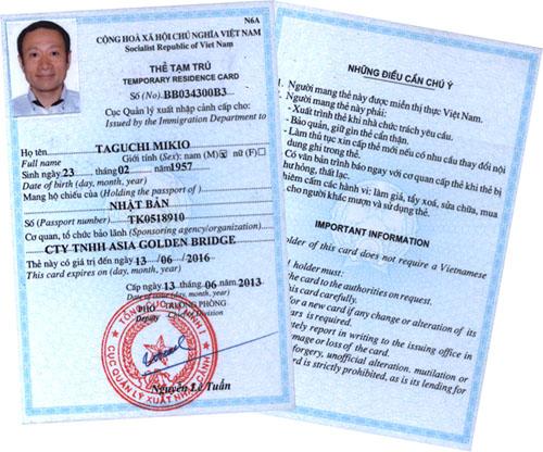 đơn bảo lãnh cấp thẻ tạm trú cho người nước ngoài