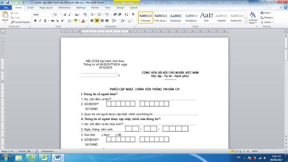 Tải mẫu phiếu cập nhật chỉnh sửa thông tin dân cư