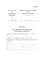 Quyết định tịch thu tang vật phương tiện vi phạm hành chính