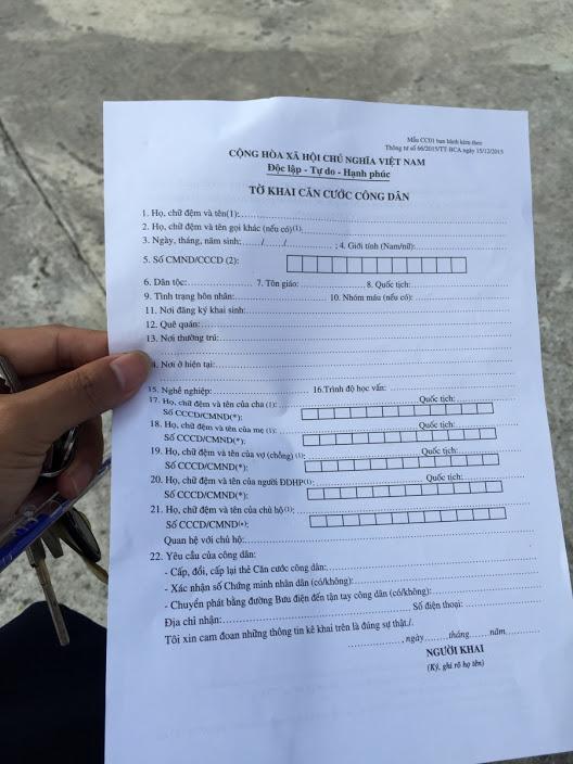 cach ghi to khai CCCD (CC01), thong tu 41/2019/TT-BCA