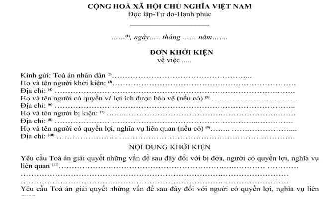 Điều kiện về đơn khởi kiện vụ án dân sự theo Bộ luật tố tụng dân sự năm 2015