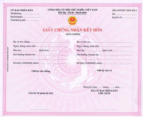 giấy đăng kí kết hôn không có chữ kí