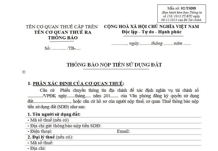 Tải mẫu số 01 thông báo nộp tiền sử dụng đất của cơ quan thuế