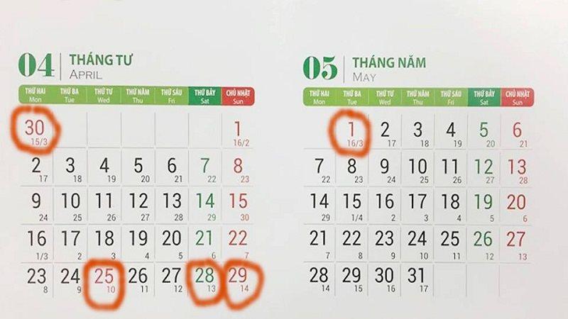 Lịch nghỉ 30/4, 1/5 và nghỉ Giỗ tổ Hùng Vương năm 2018