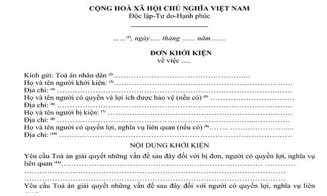 Tải mẫu đơn khởi kiện dân sự mới nhất và hướng dẫn kê khai chi tiết