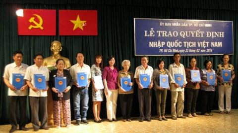 Nhập quốc tịch Việt Nam cho người nước ngoài theo quy định của pháp luật