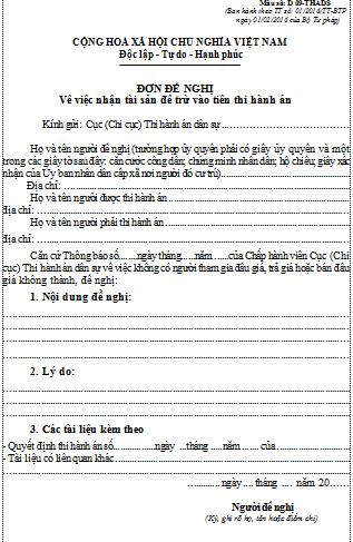 Mẫu đơn đề nghị nhận tài sản để trừ tiền thi hành án dân sự