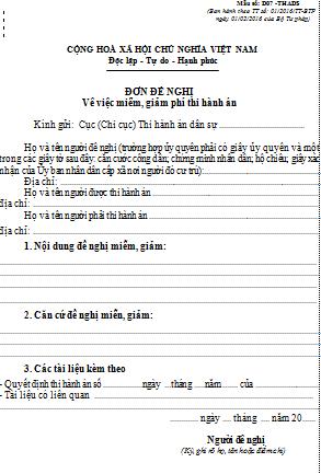 Mẫu đơn đề nghị miễn giảm phí thi hành án dân sự