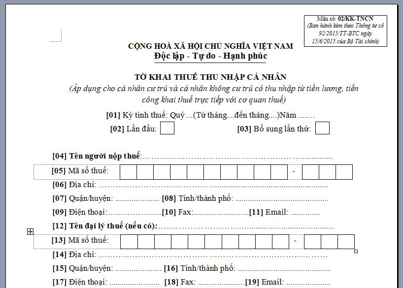 viết tờ khai thuế thu nhập cá nhân nhà đất