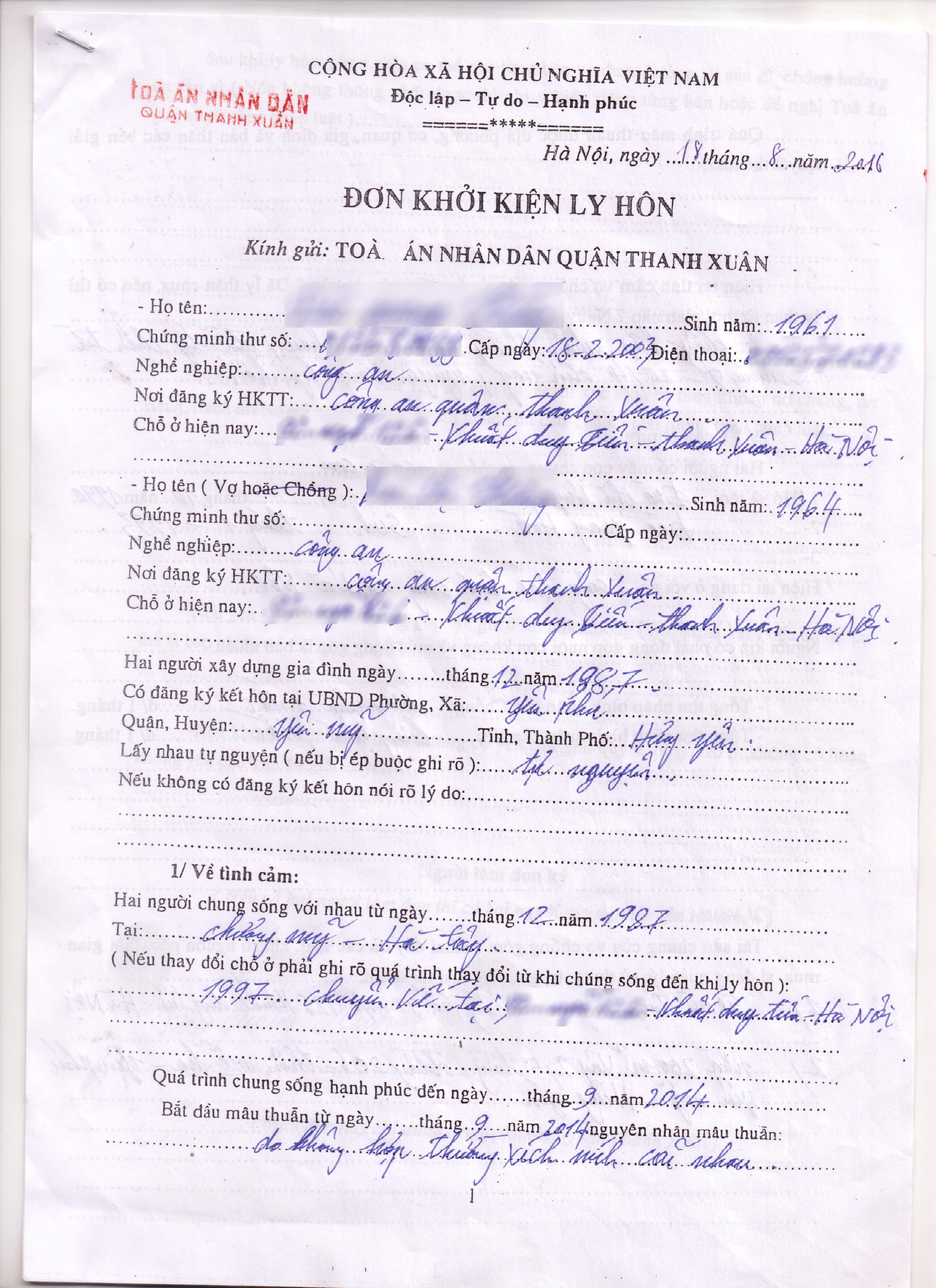 Dịch vụ viết đơn ly hôn tại quận Thanh Xuân – Luật Toàn Quốc