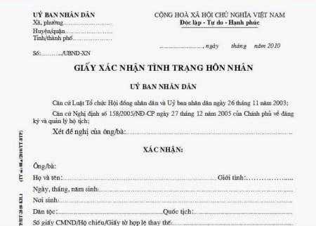 Thủ tục xin cấp giấy xác nhận tình trạng hôn nhân 2019