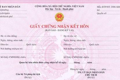 Dịch vụ xin cấp bản sao đăng ký kết hôn